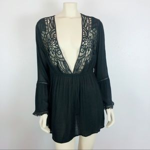 Topshop Black Crochet Boho Peasant Tunic Dress 4-6